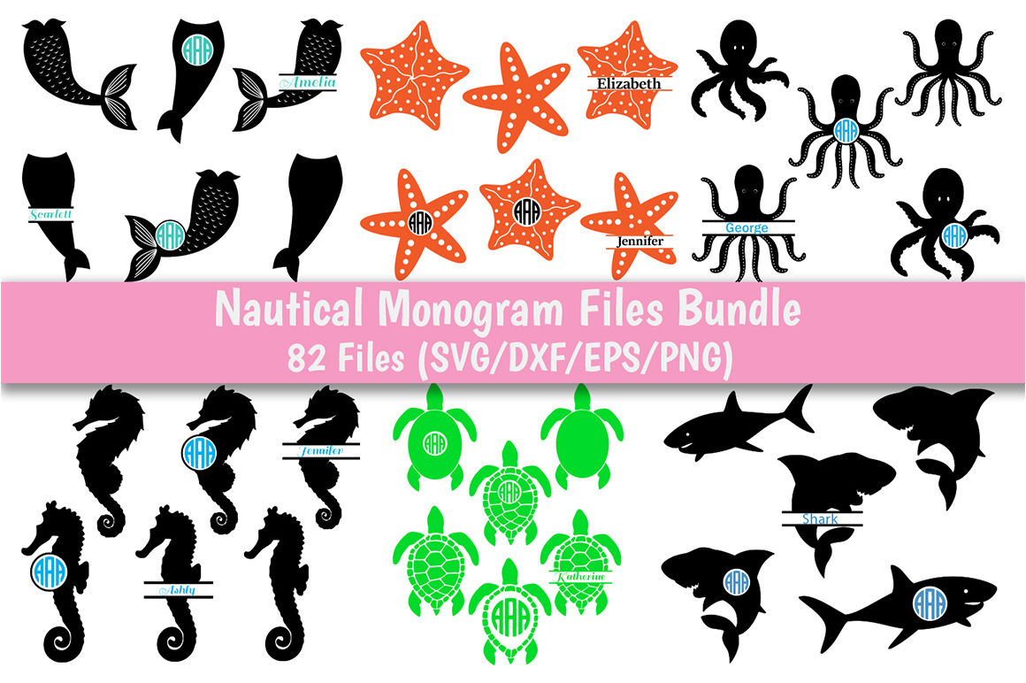Nautical Monog Svg Bundle 13 Pack In Svg Dxf Png Eps Format By