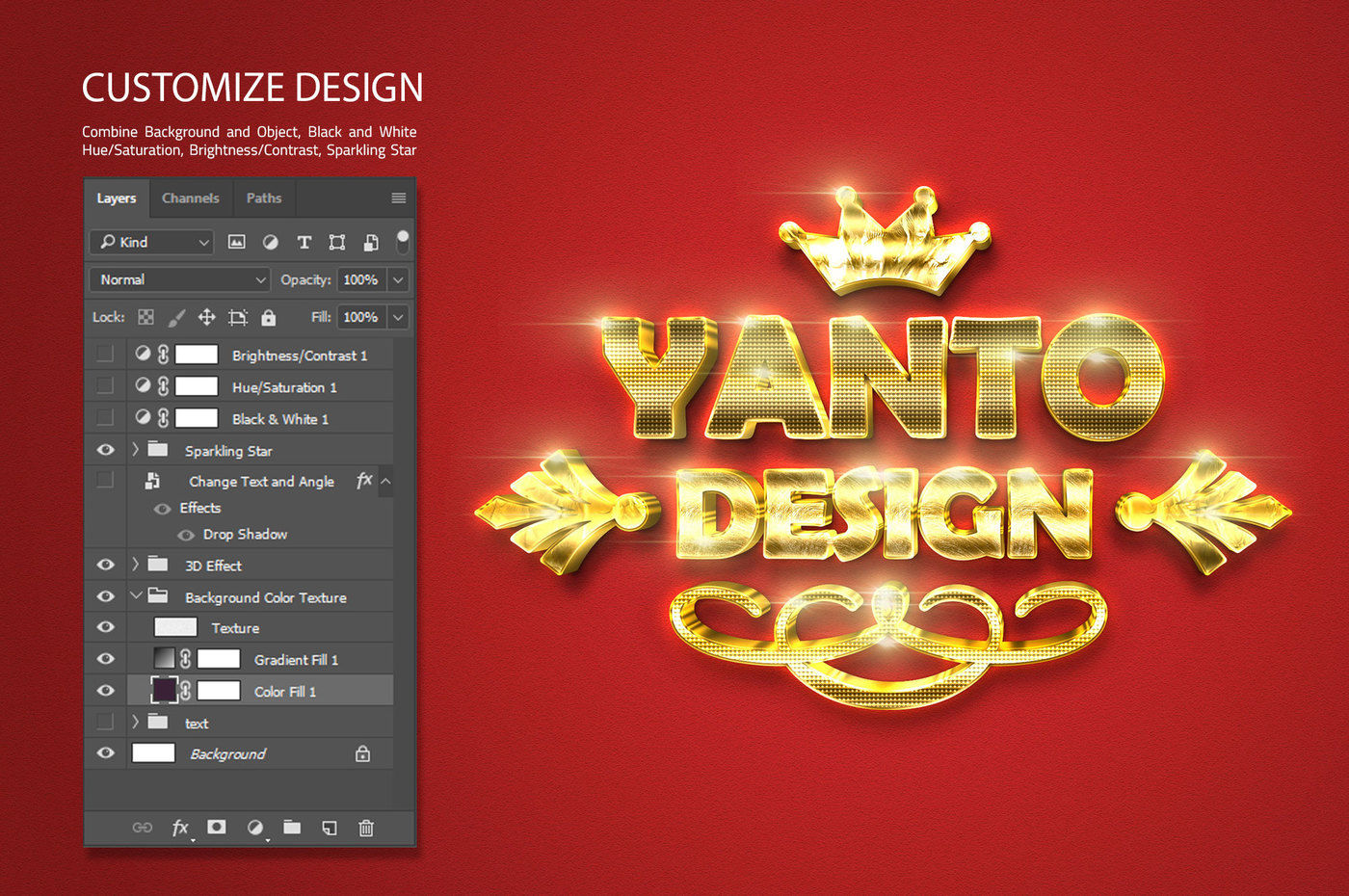 3D Gold Text Effect By yantodesign | TheHungryJPEG com