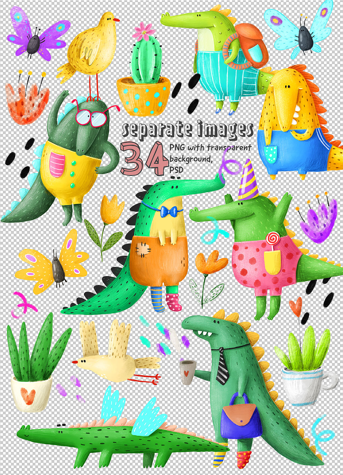Set Of Cute Crocodiles By An Kle Thehungryjpeg Com