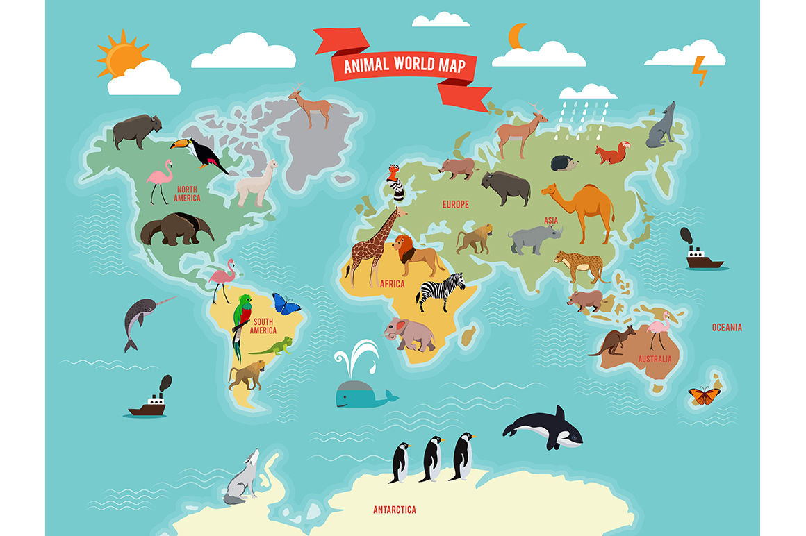 Illustration Of Wildlife Animals On The World Map By Onyx