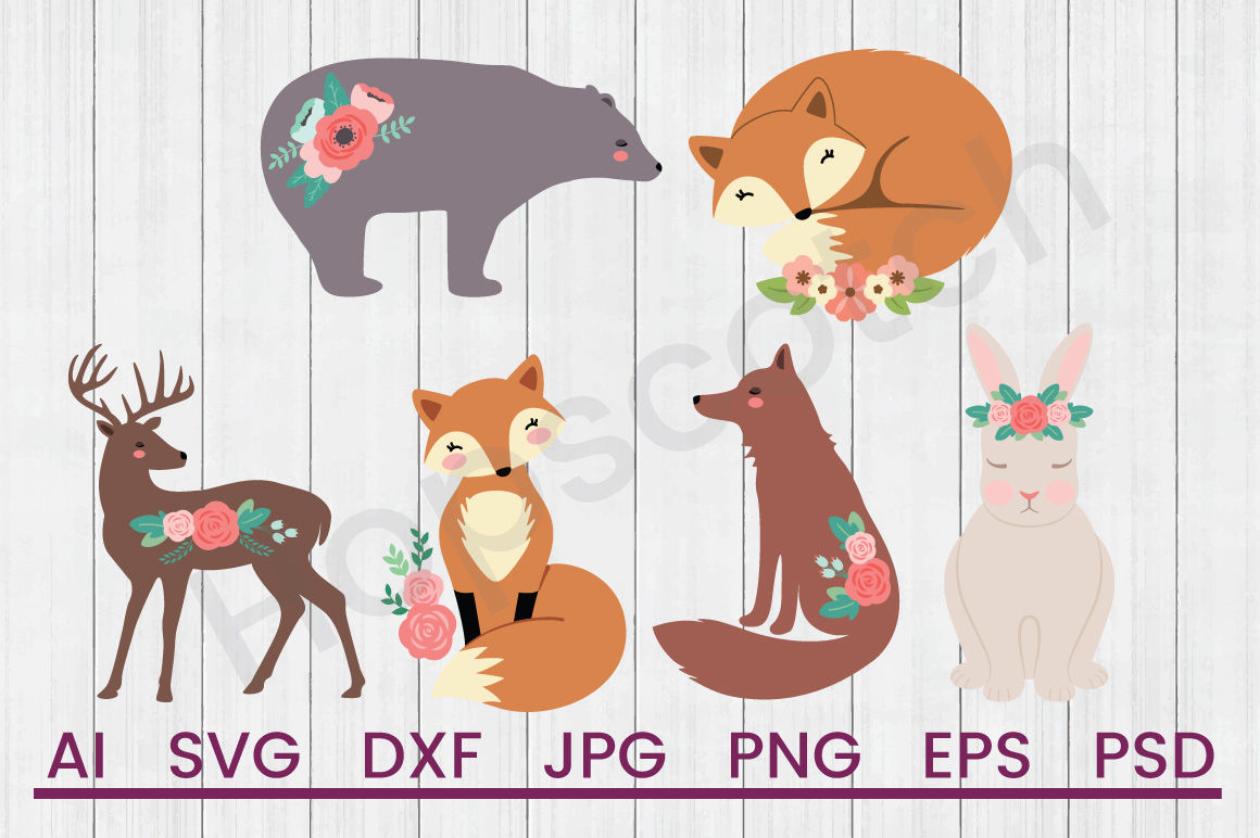 Floral Animals Bundle Svg Files Dxf Files Cuttable Files By