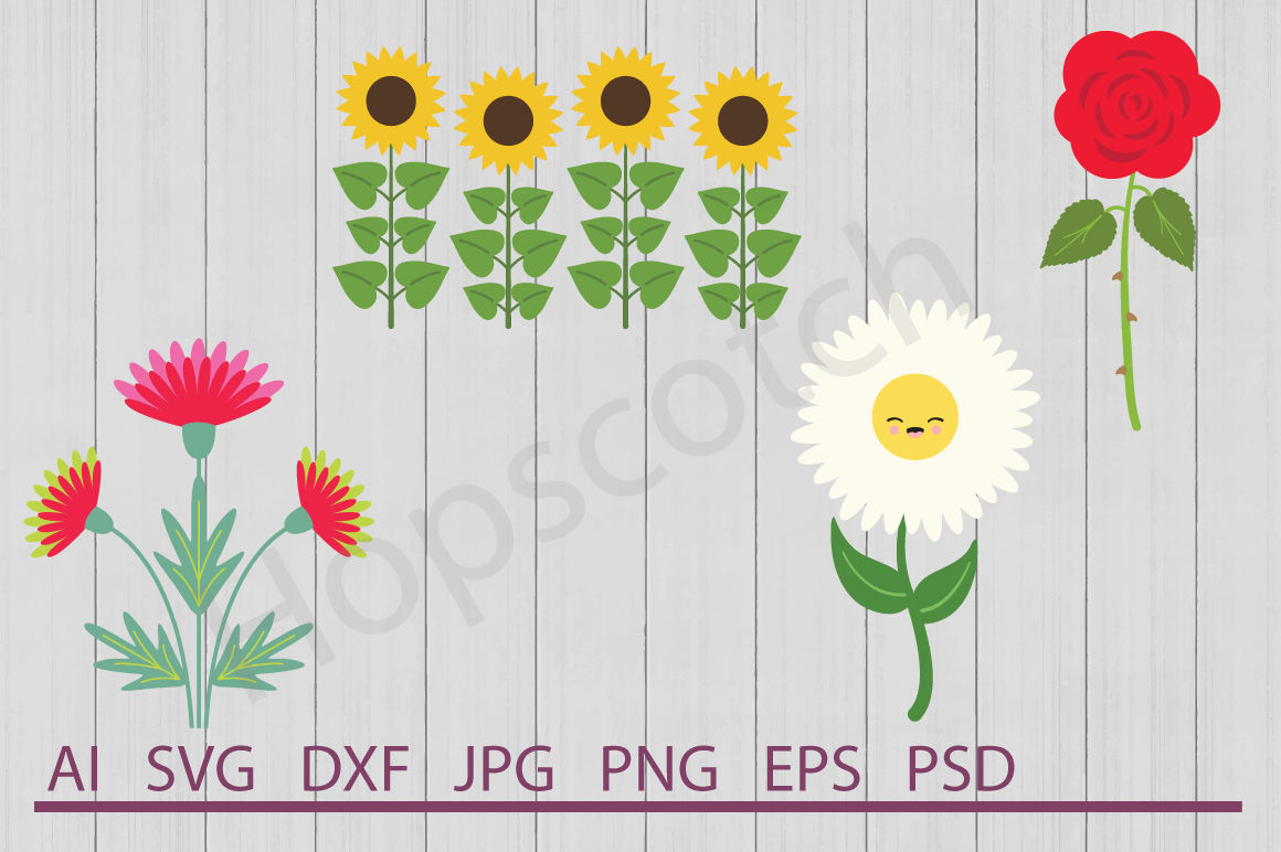 Flowers Bundle Svg Files Dxf Files Cuttable Files By Hopscotch