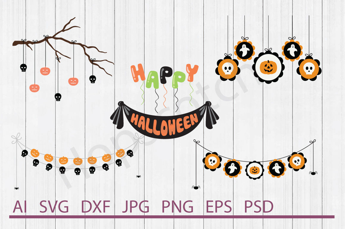 Halloween Banner Bundle Svg Files Dxf Files Cuttable Files By