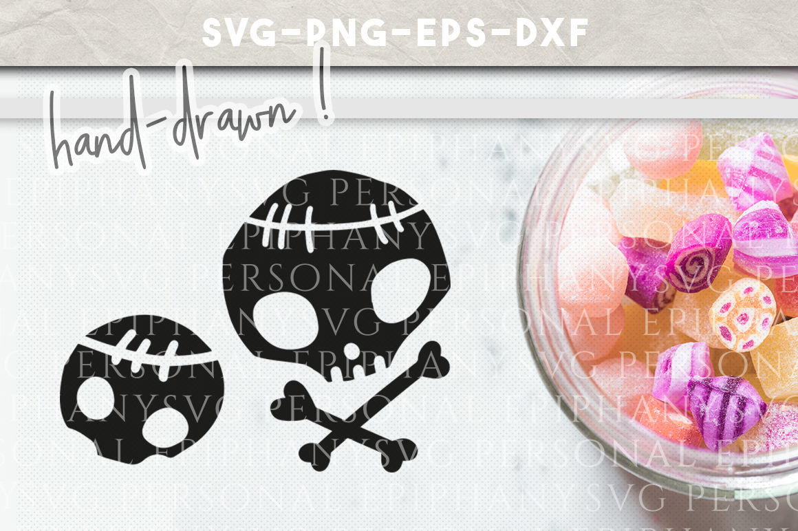 Halloween Skull Clip Art Svg Hand Drawn Dxf Eps Png Cut File By