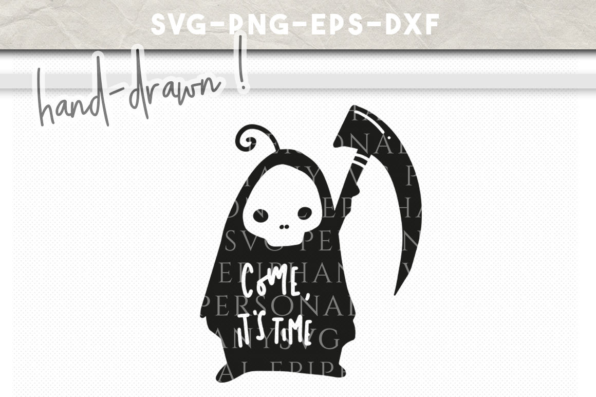 Halloween Grim Reaper Clip Art Svg Hand Drawn Dxf Eps Png Cut File