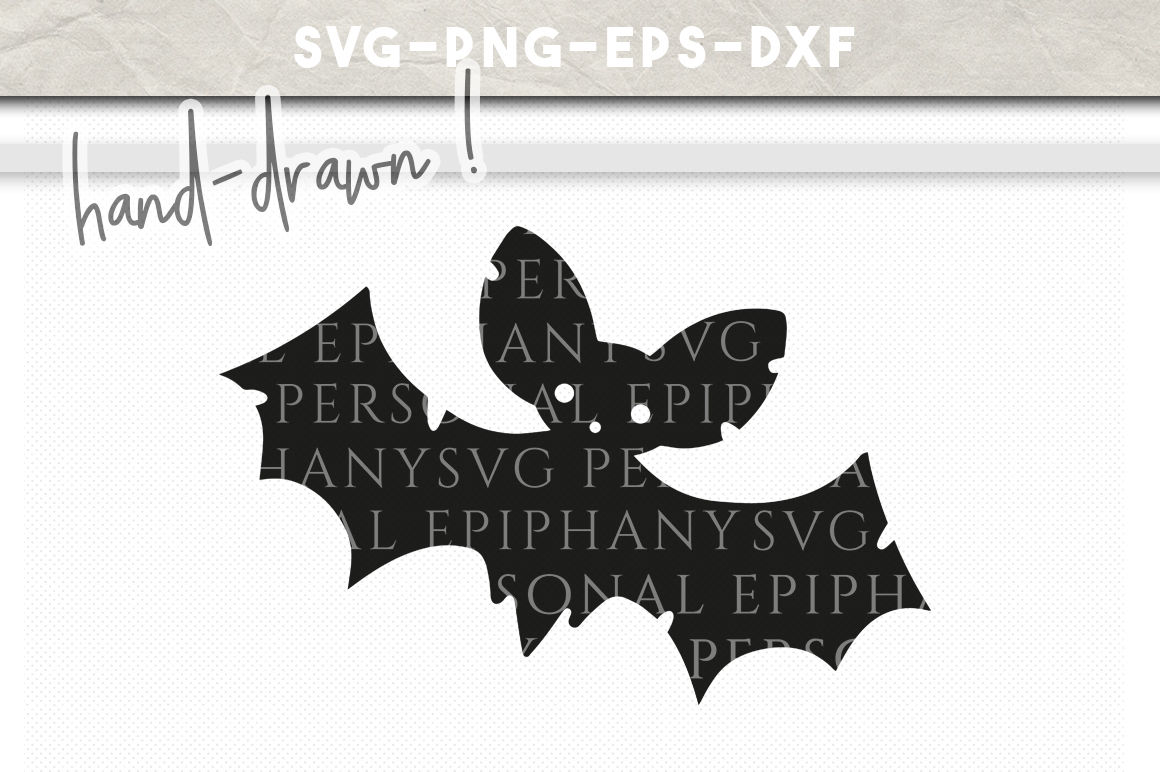 Halloween Bat Clip Art Svg Hand Drawn Dxf Eps Png Cut File By