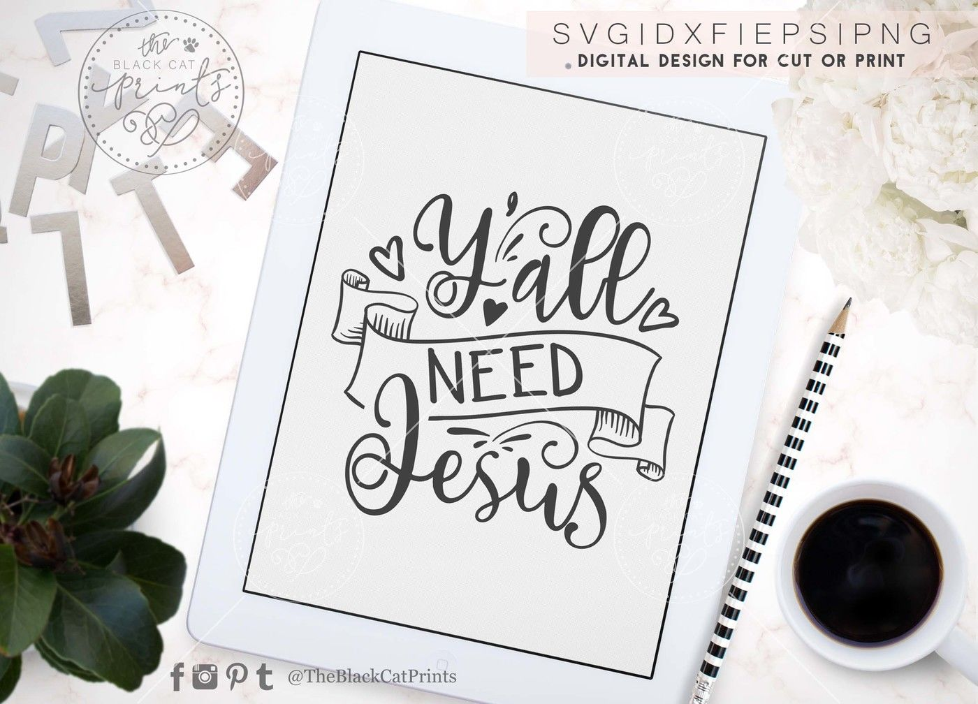 Y All Need Jesus Svg Dxf Eps Png By Theblackcatprints
