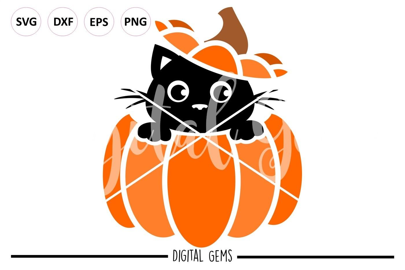 Cat In A Pumpkin Svg Dxf Eps Png Files By Digital Gems