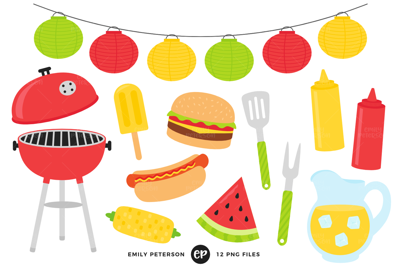 Food summer. Clipart bundle by emily