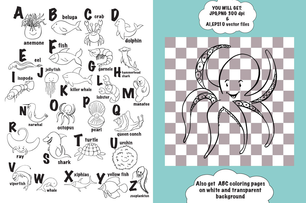 Sea Animal Abc Coloring Pages By Ink Brush Art Thehungryjpeg Com