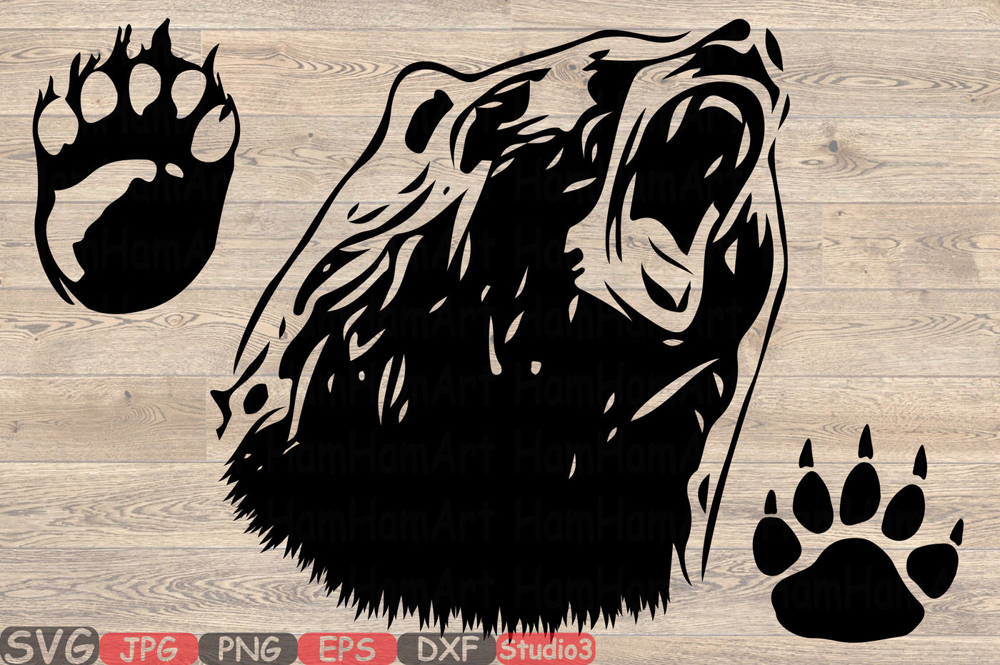 Bear Silhouette Svg Hunting Bear Claw Paw Dad Mom Baby Papa 861s