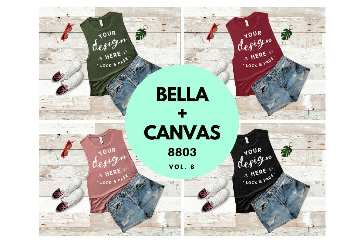 Bella Canvas 8803 Tank Top Mockup Muscle Top Flat Lay Vol 8 By