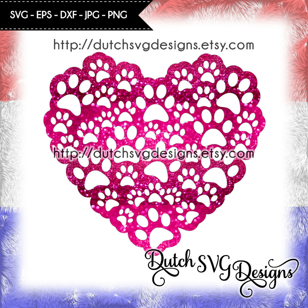 Cutting File Pawprints In Heart Shape For Cricut Silhouette By