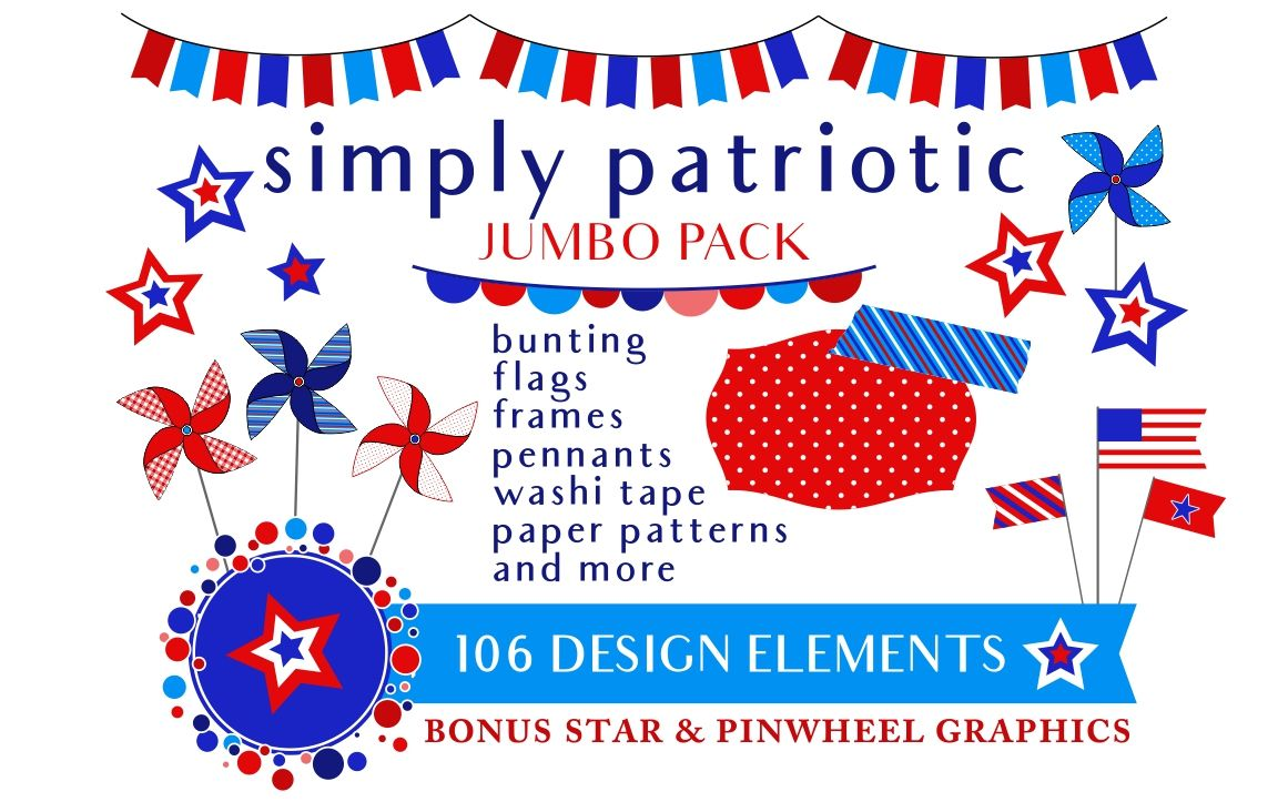 4th Of July Red White Blue Patriotic Graphics By Kelly Jane