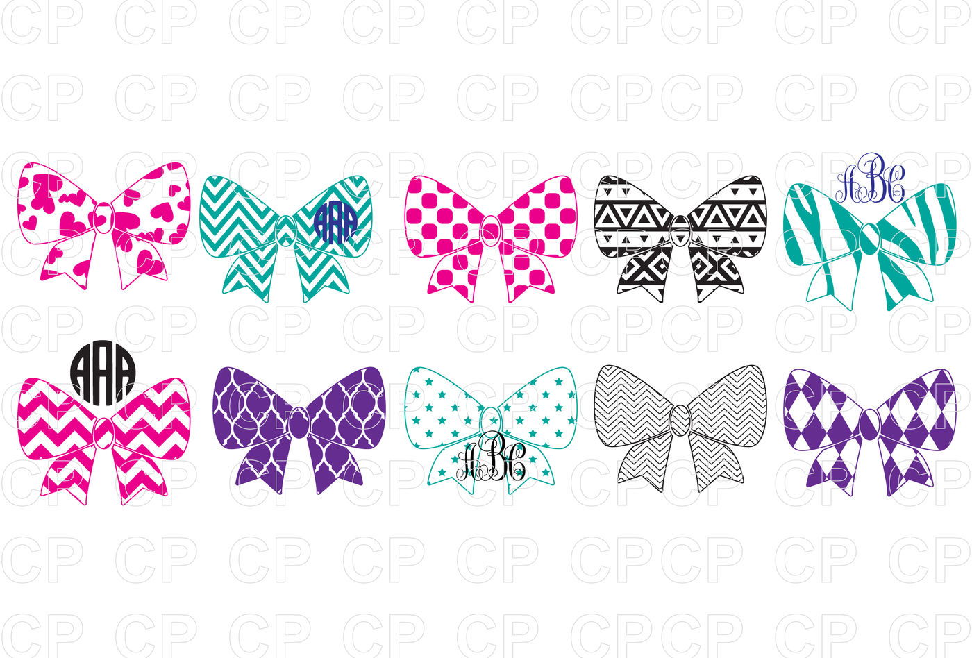 Pattern Bow Bundle Svg Cut Files Pattern Bow Clipart By