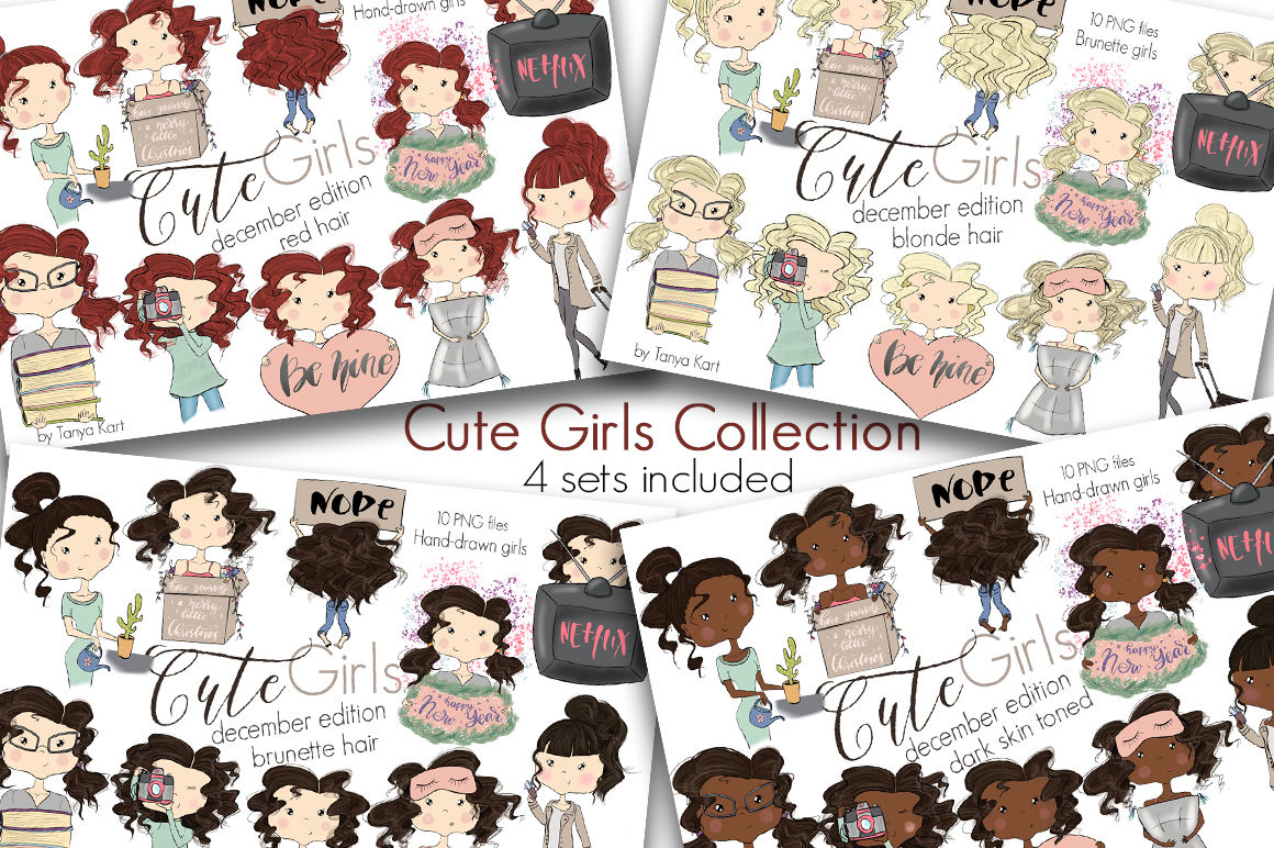 Cute Planner Girls Big Bundle Sale By Tanya Kart Thehungryjpeg Com