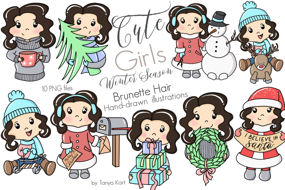 Cute Planner Girls Big Bundle Sale By Tanya Kart Thehungryjpeg Com