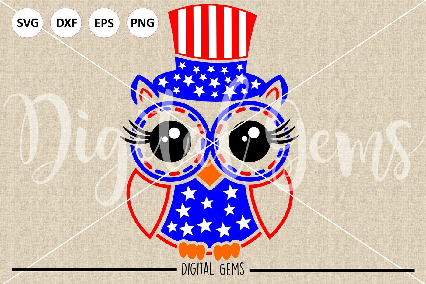 Owl July 4th Svg Dxf Eps Png Files By Digital Gems Thehungryjpeg Com