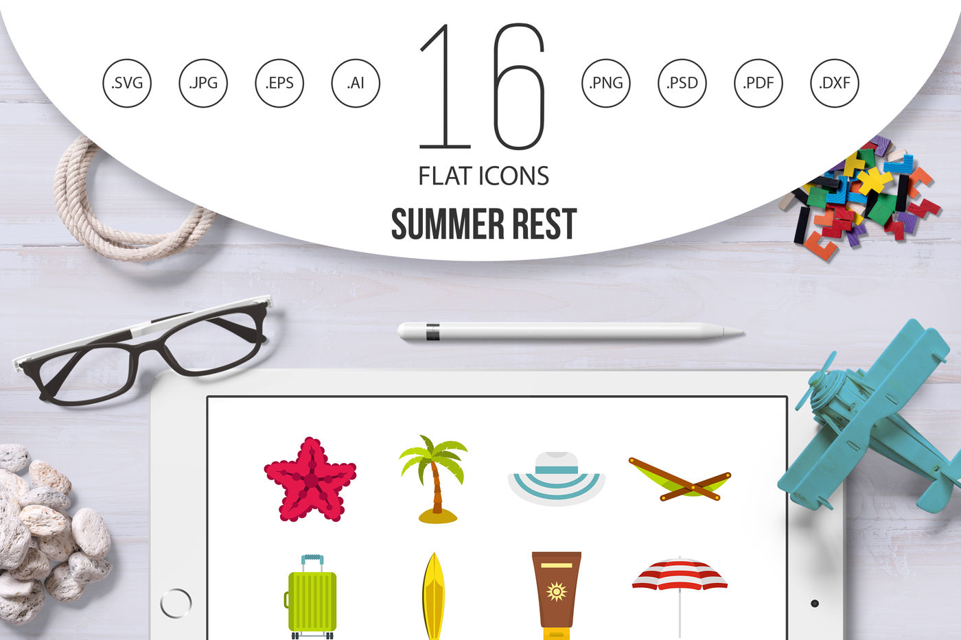Summer Rest Set Flat Icons By Ylivdesign Thehungryjpeg Com