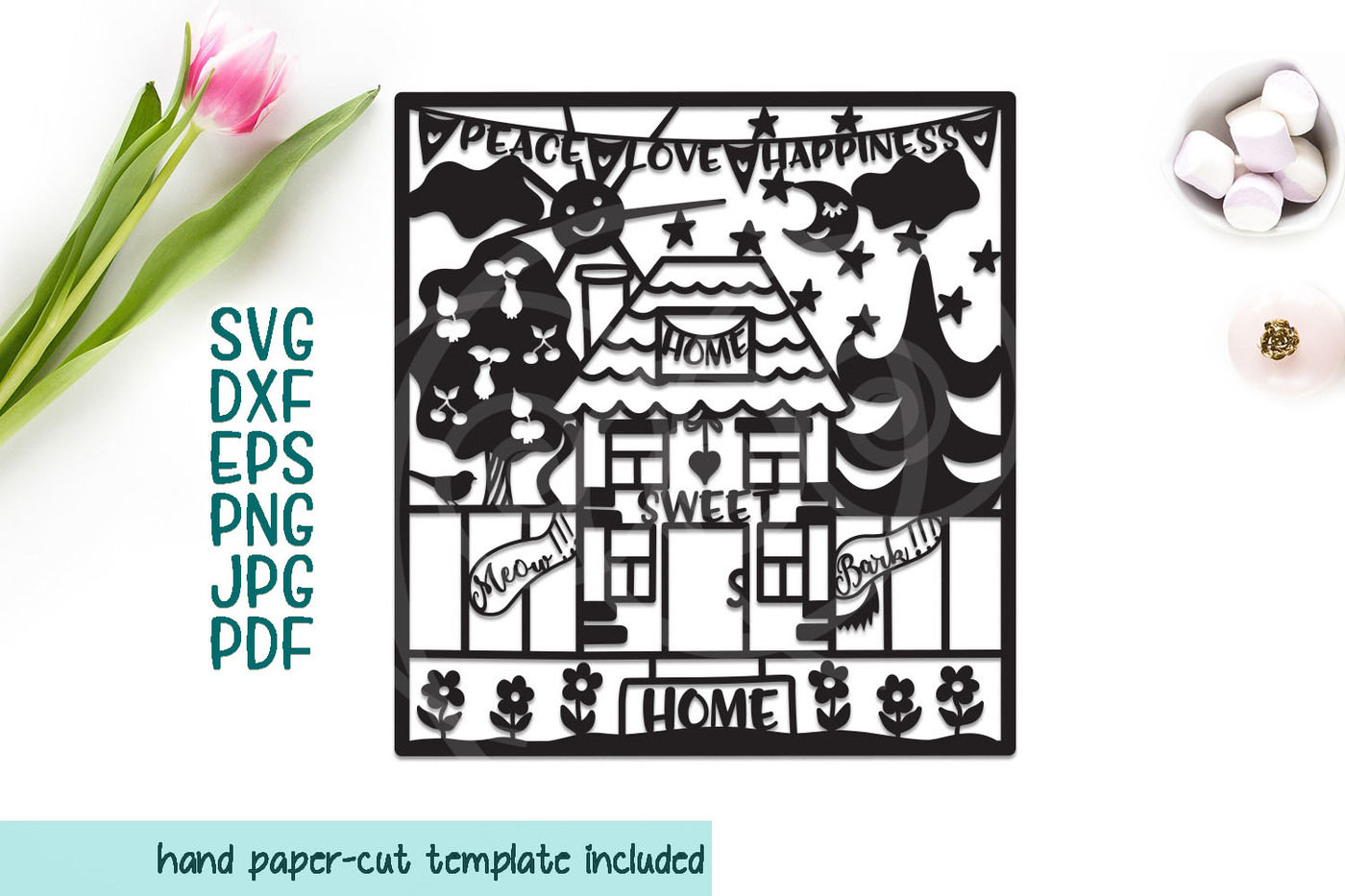 Home Sweet Home Svg Papercutting Template Stencil Laser Cut By