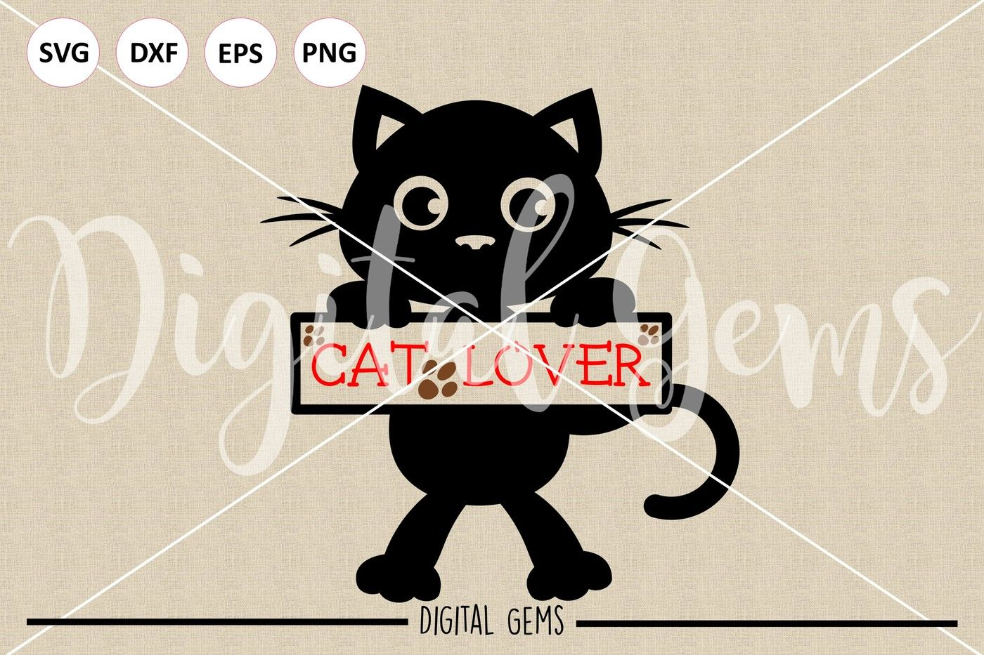 Cat Svg Dxf Eps Files By Digital Gems Thehungryjpeg Com