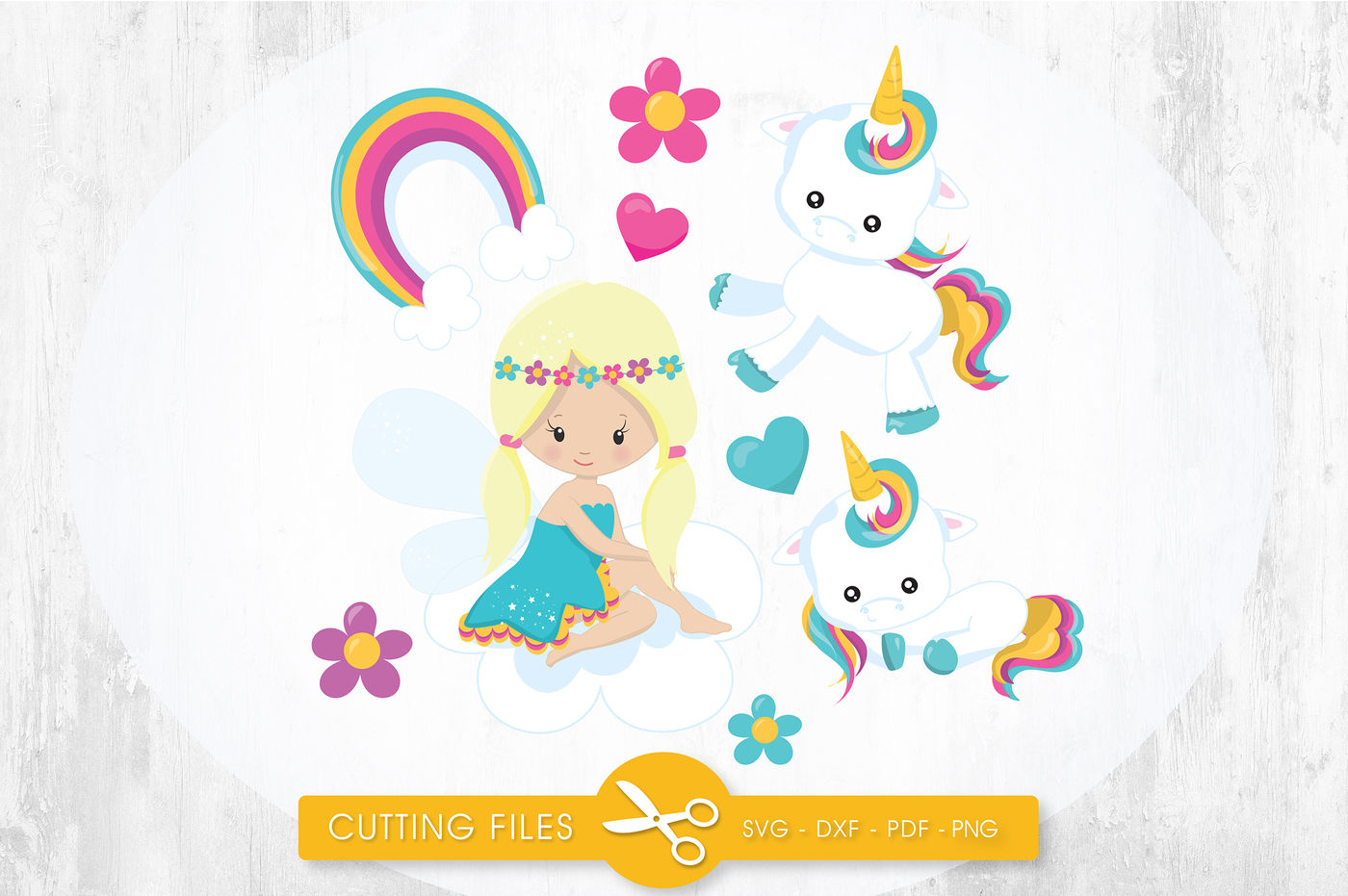 Unicorn Fairy Svg Png Eps Dxf Cut File By Prettycuttables