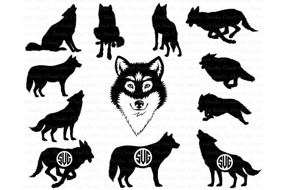 Wolf Svg Wolf Monogram Svg Wolf Head Svg Files By Doodle Cloud