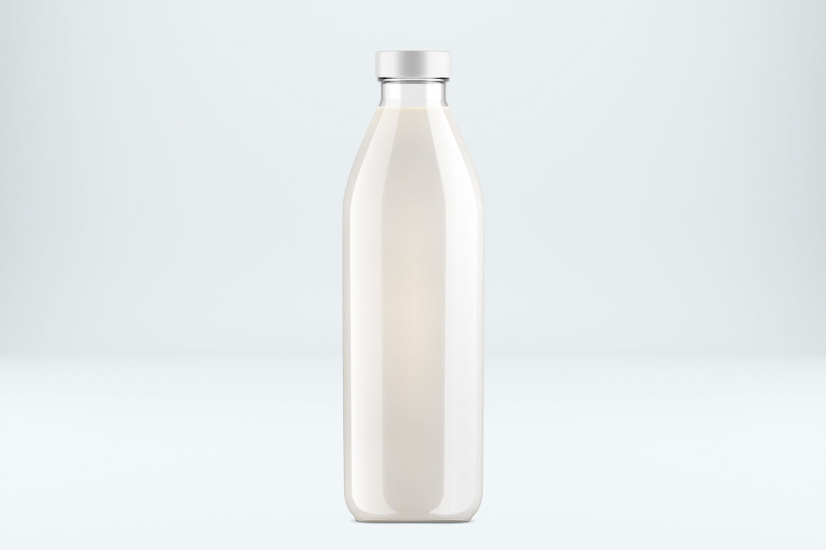 Download Glass Milk Bottle With A Tag Mockup Yellowimages