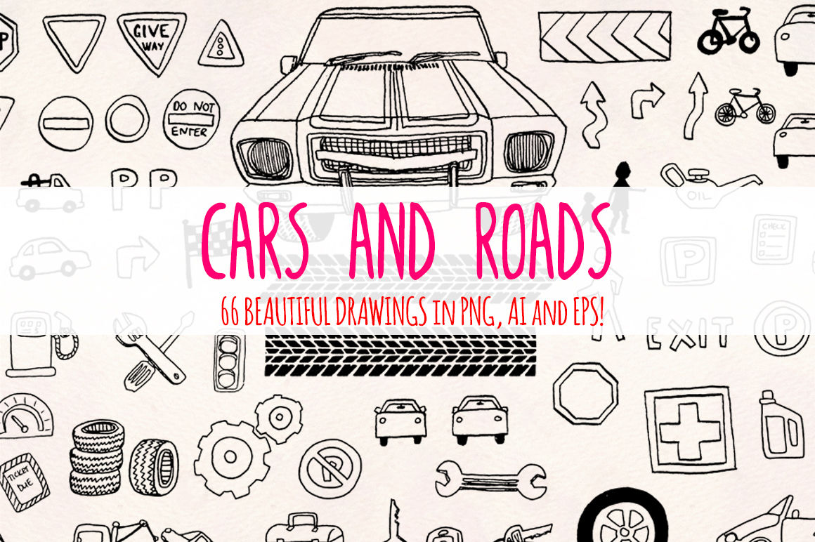 66 Cars And Road Transport Sketch Graphics By Violet Lebeaux