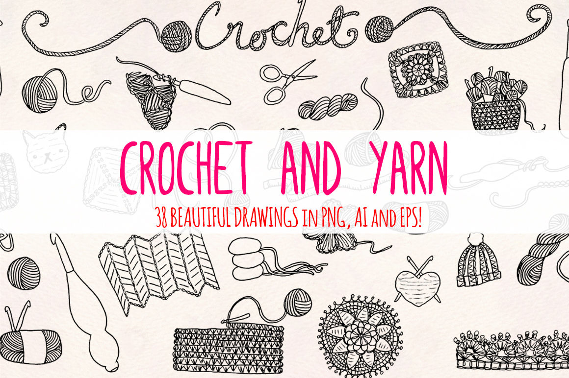 33 Crochet And Yarn Sketch Graphics By Violet Lebeaux