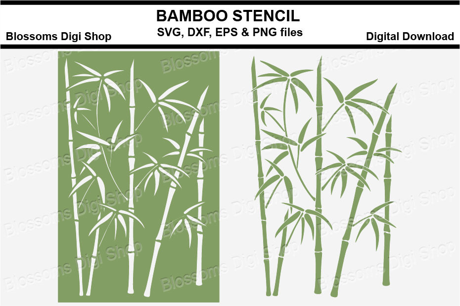 Bamboo Stencil Svg Dxf Eps Png Files By Blossoms Digi Shop
