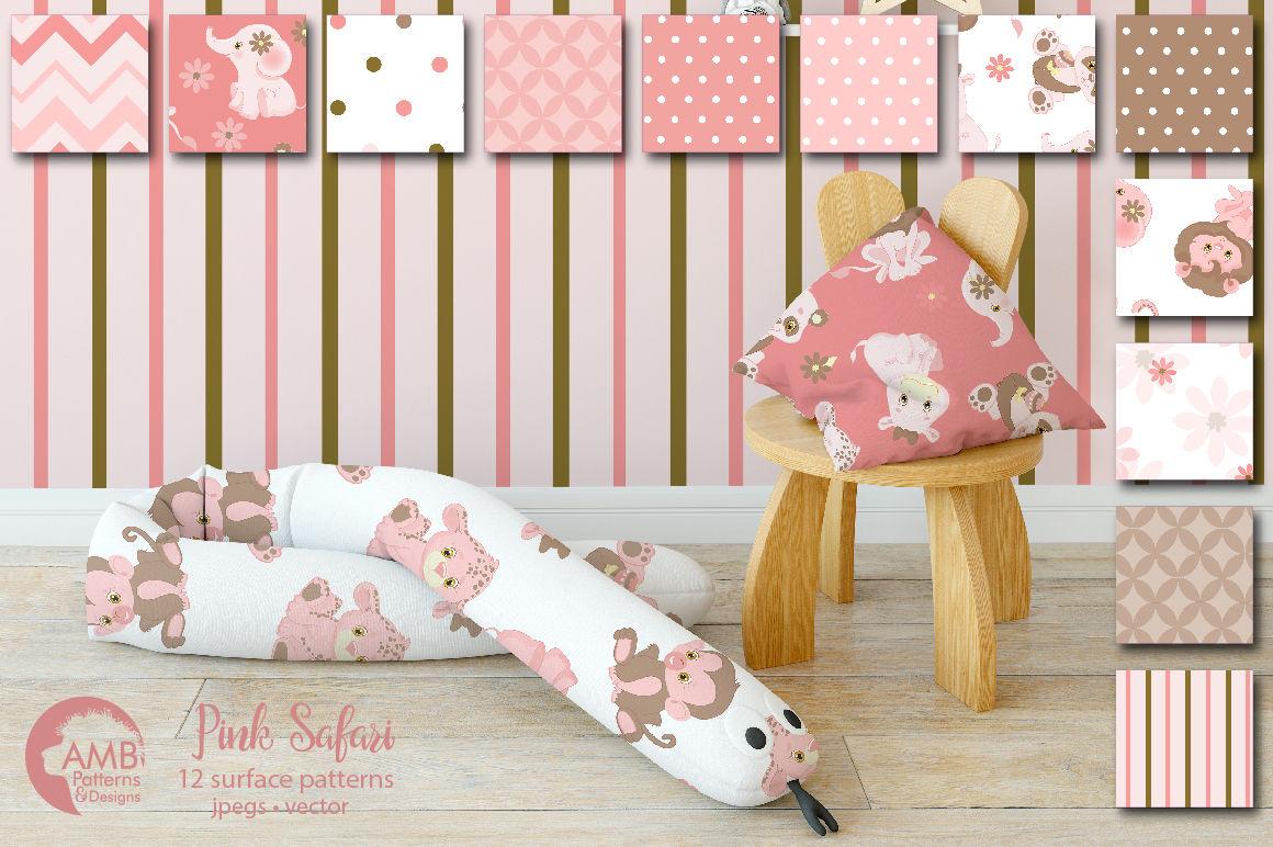 Pink Safari patterns, Pink Safari Animals papers AMB-1216 ...