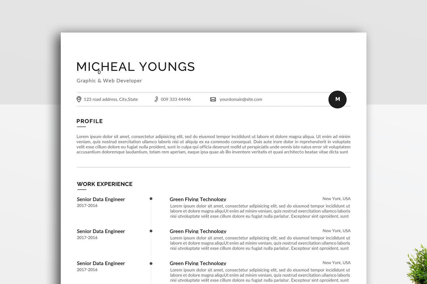 Minimal Resume Template By Linzo91 Thehungryjpeg Com