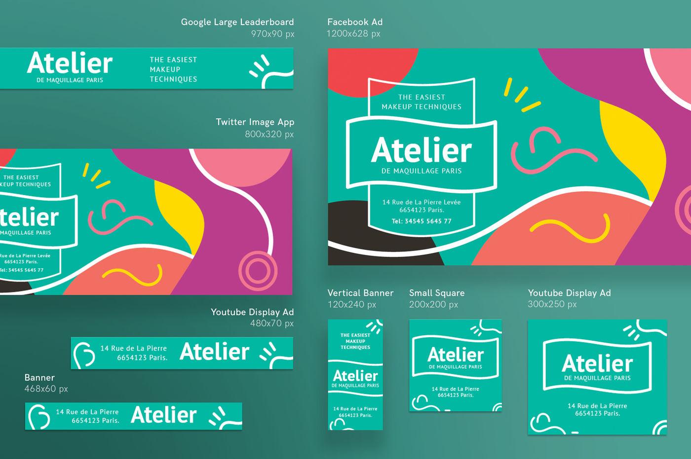 Design Templates Bundle Flyer Banner Branding Makeup Ateiler