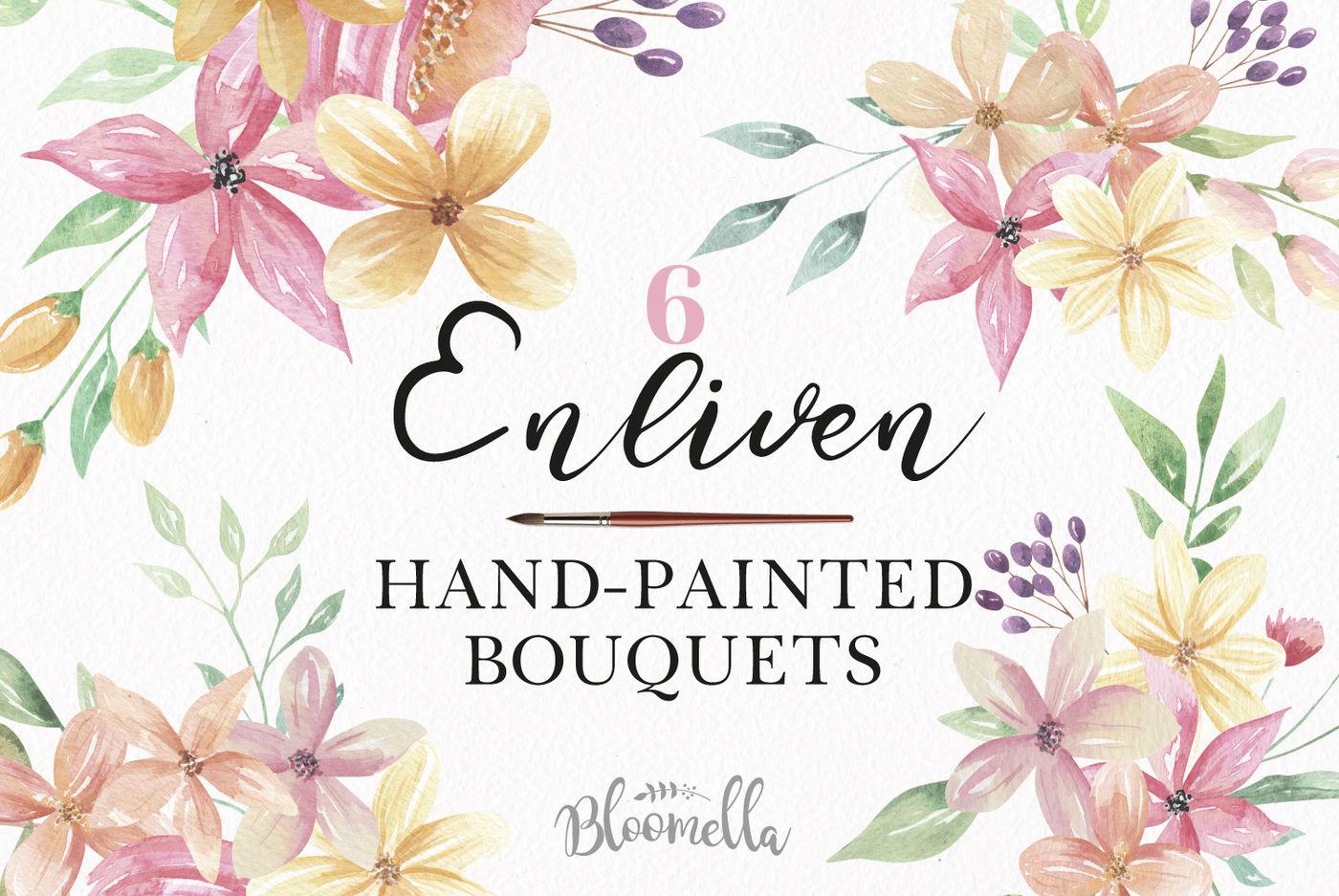 Watercolor Enliven Floral Blooms Berry Bouquets Pink Pastel Colors