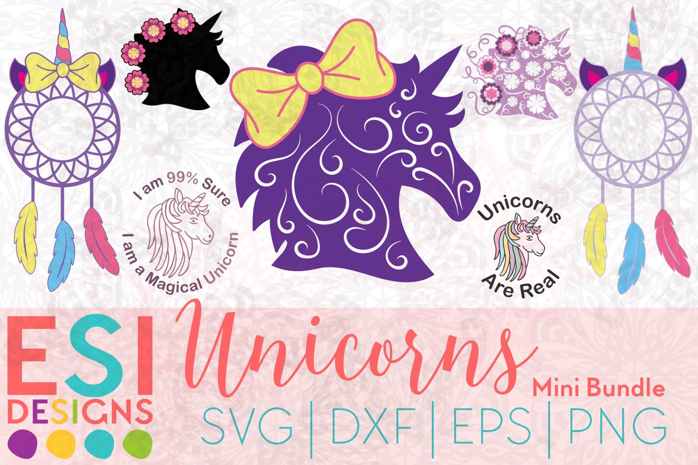 Unicorns Mini Bundle Svg Dxf Eps Png Cut Files By Esi