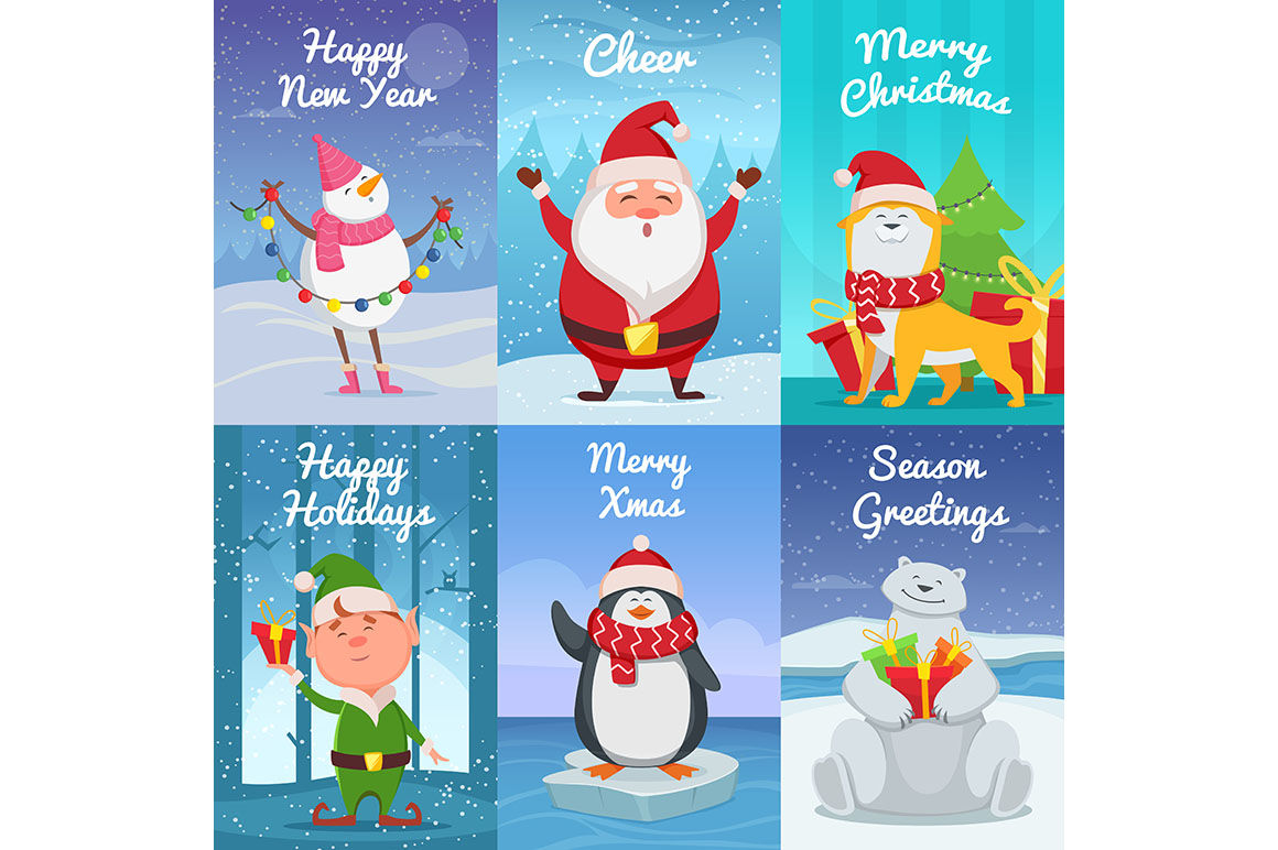Cute Christmas Cards With Funny Characters Vector Pictures In