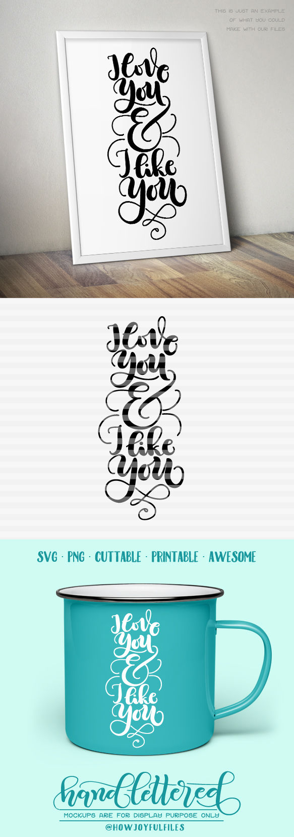 I Love You And I Like You Svg Pdf Hand Drawn Lettered Cut