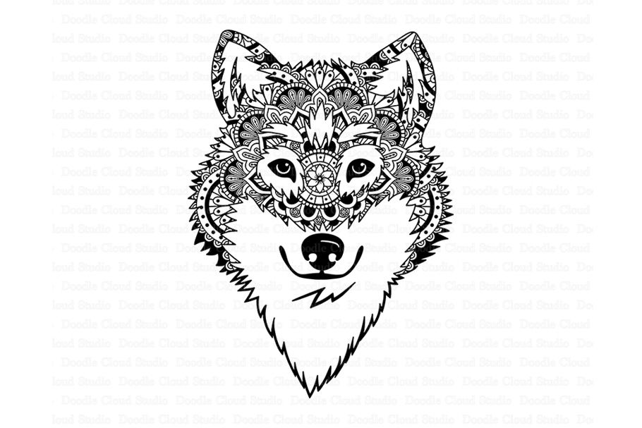 Wolf Svg Wolf Head Svg Wolf Mandala Svg Files By Doodle Cloud