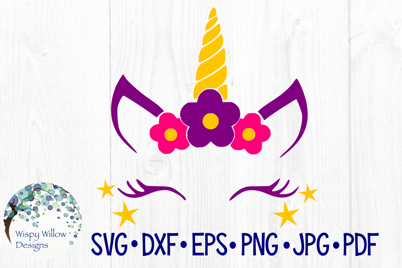 Girly Unicorn Face Svg Dxf Eps Png Jpg Pdf By Wispy Willow Designs