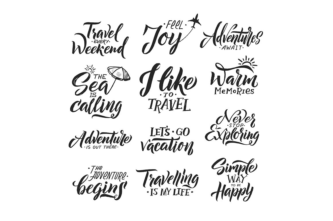 Typography Hand Writing Set Motivation Words And Phrase For