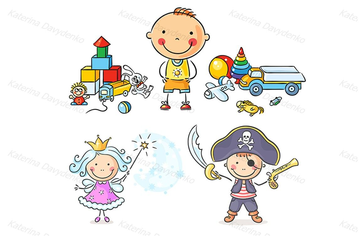 Kids Playing Bundle Happy Cartoon Kids Playing Different Games By
