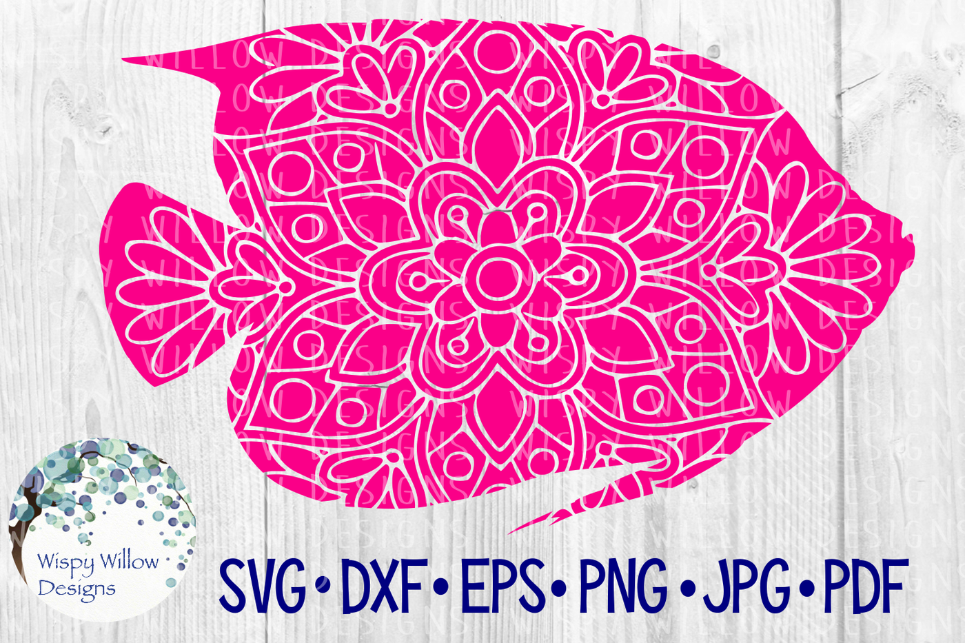 Fish Floral Mandala Animal Zentangle Svg Dxf Eps Png Jpg Pdf By