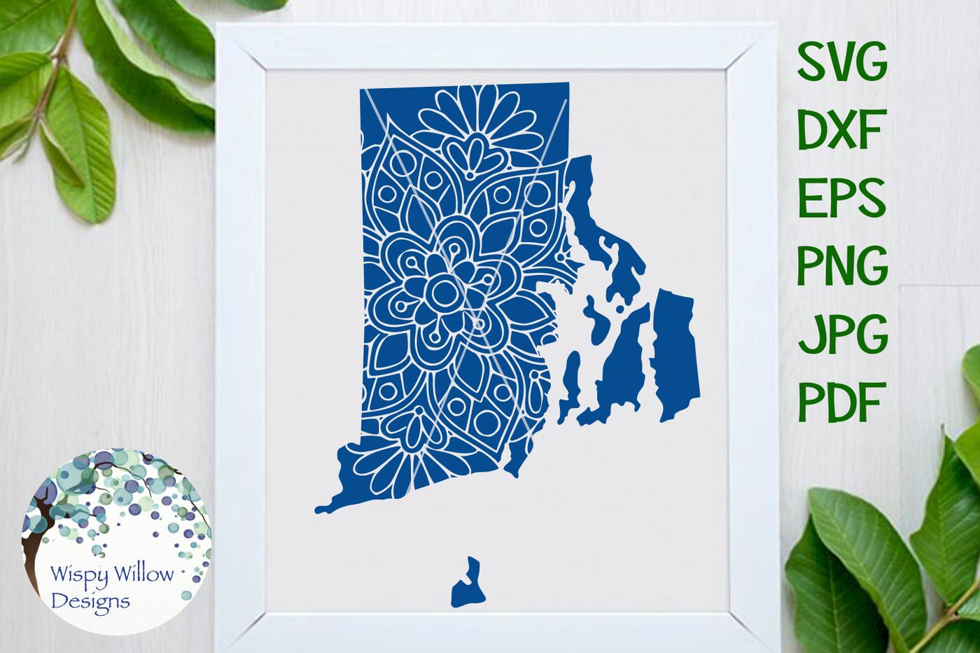 Rhode Island Ri State Floral Mandala Svg Dxf Eps Png Jpg Pdf By