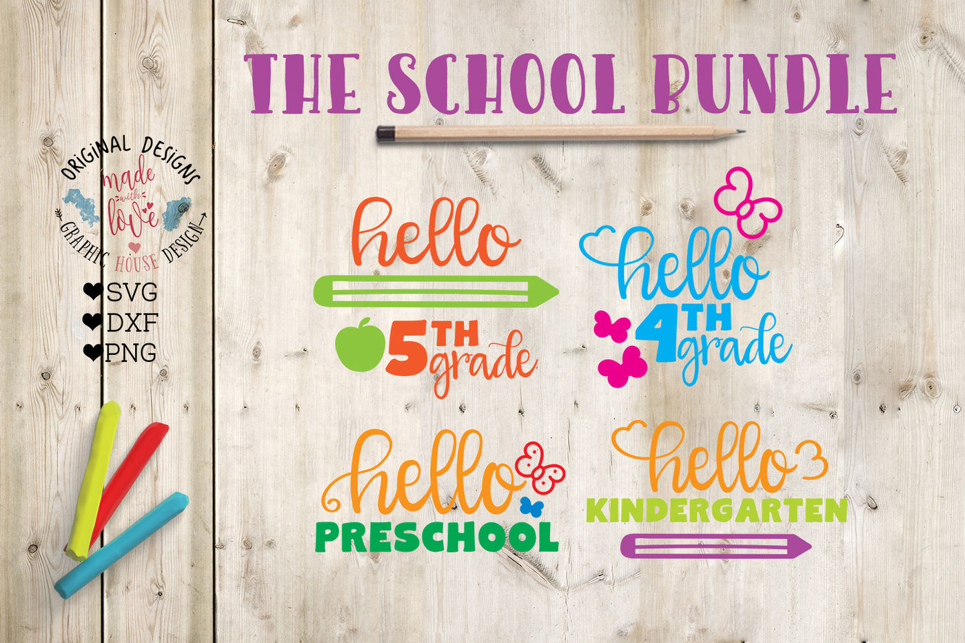 School Bundle Svg Dxf Png By Graphichousedesign