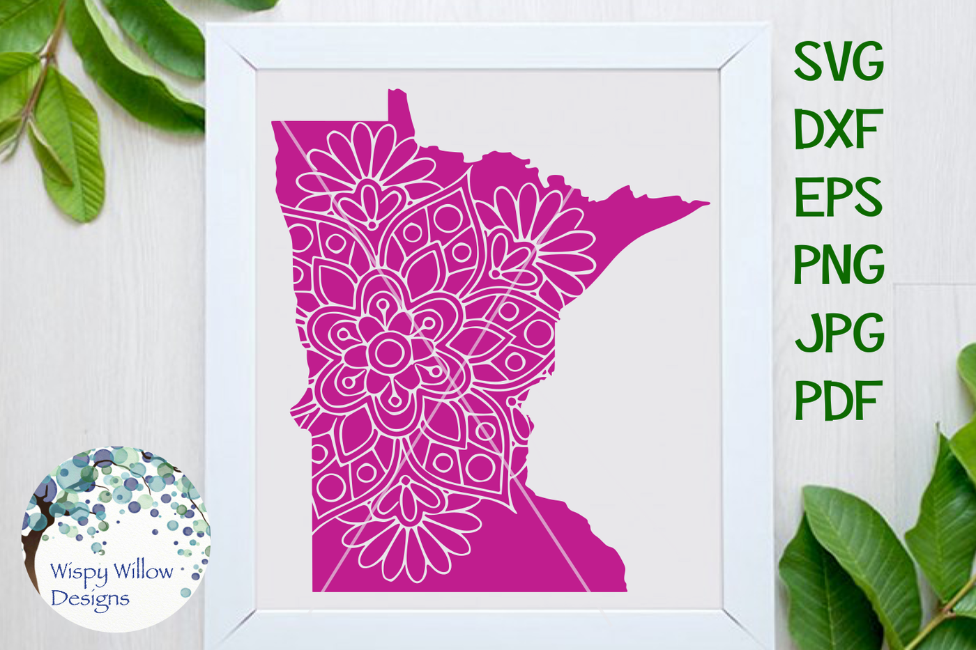 Minnesota Mn State Floral Mandala Svg Dxf Eps Png Jpg Pdf By Wispy