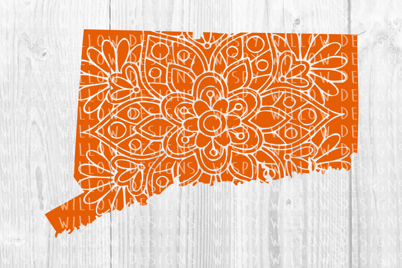 Connecticut Ct State Floral Mandala Svg Dxf Eps Png Jpg Pdf By