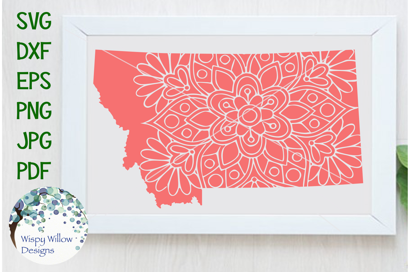 Montana Mt State Floral Svg Dxf Eps Png Jpg Pdf By Wispy Willow