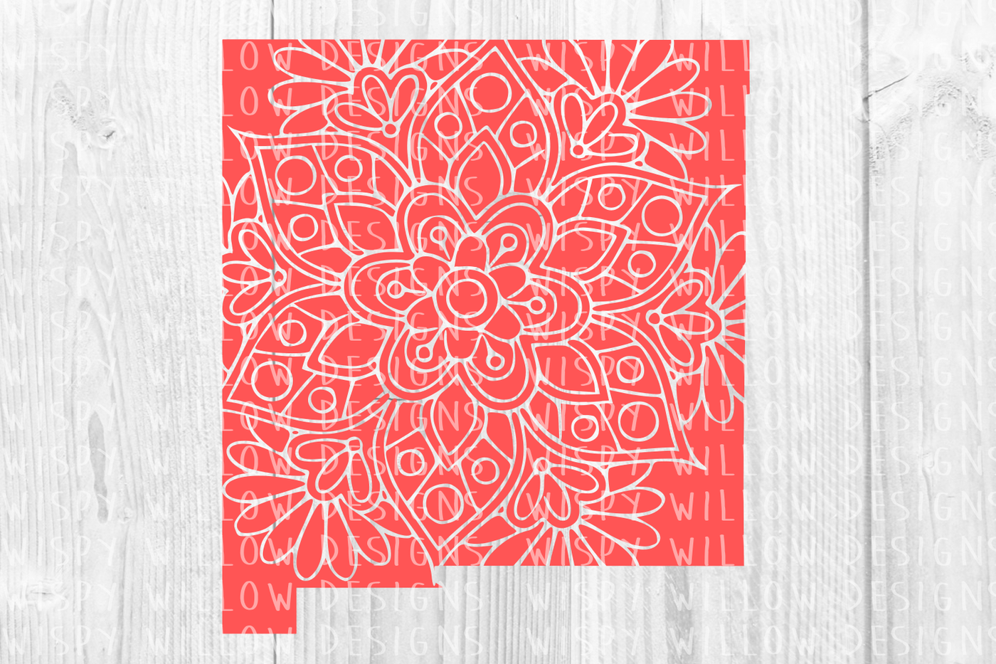 New Mexico Nm State Floral Mandala Svg Dxf Eps Png Jpg Pdf By