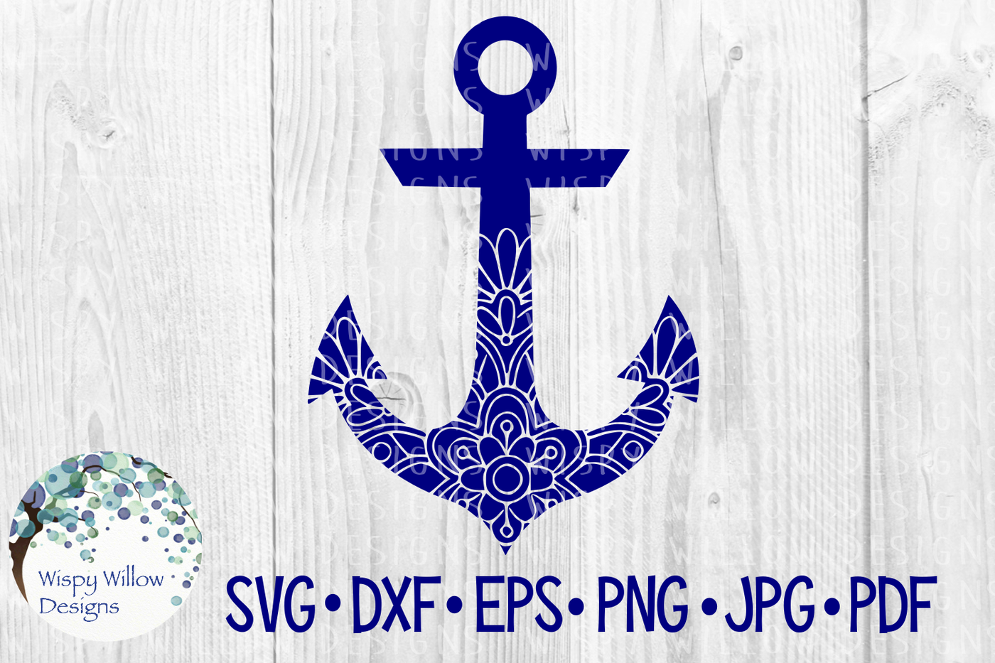 Anchor Floral Mandala Svg Dxf Eps Png Jpg Pdf By Wispy Willow